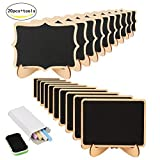 20 Mini Holz Tafel Set, KAKOO Kreidetafel Memotafel mit Stand-Füße als...