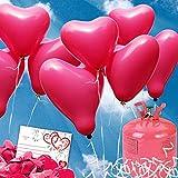 70 HELIUM Herzluftballons Hochzeit lila - KOMPLETTSET aus lila HERZ...