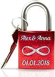 ABUS personalisiertes Liebesschloss mit Gravur und Schlüssel wahlweise mit...