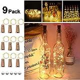 9x 20 LED Flaschen-Licht, Flaschenlichter Weinflasche Flaschenlicht Kork...