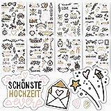 Sticker Hochzeit | Aufkleber für Gästebuch & Foto-Album | Set mit 133...