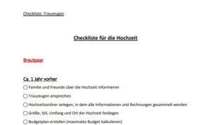 Checkliste für Trauzeugen & Trauzeuge